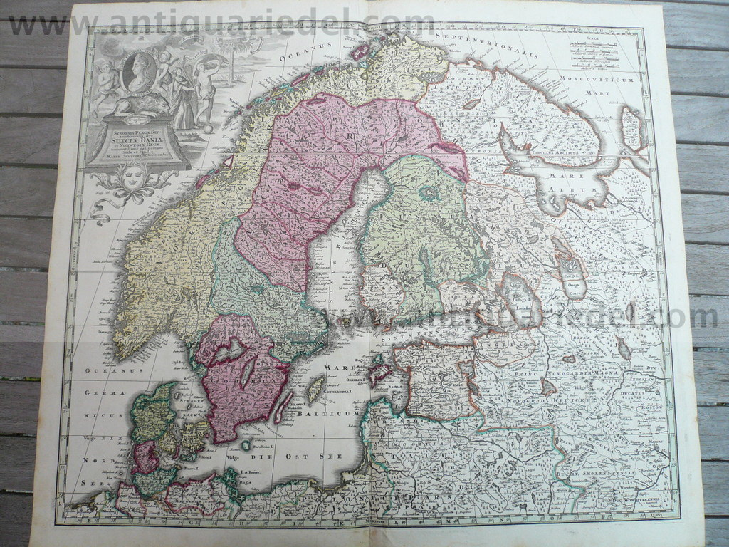 Scandinavia, anno 1730, Seutter M., old colours