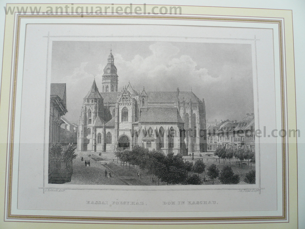Kosice-Kaschau, anno 1850, steelengraving