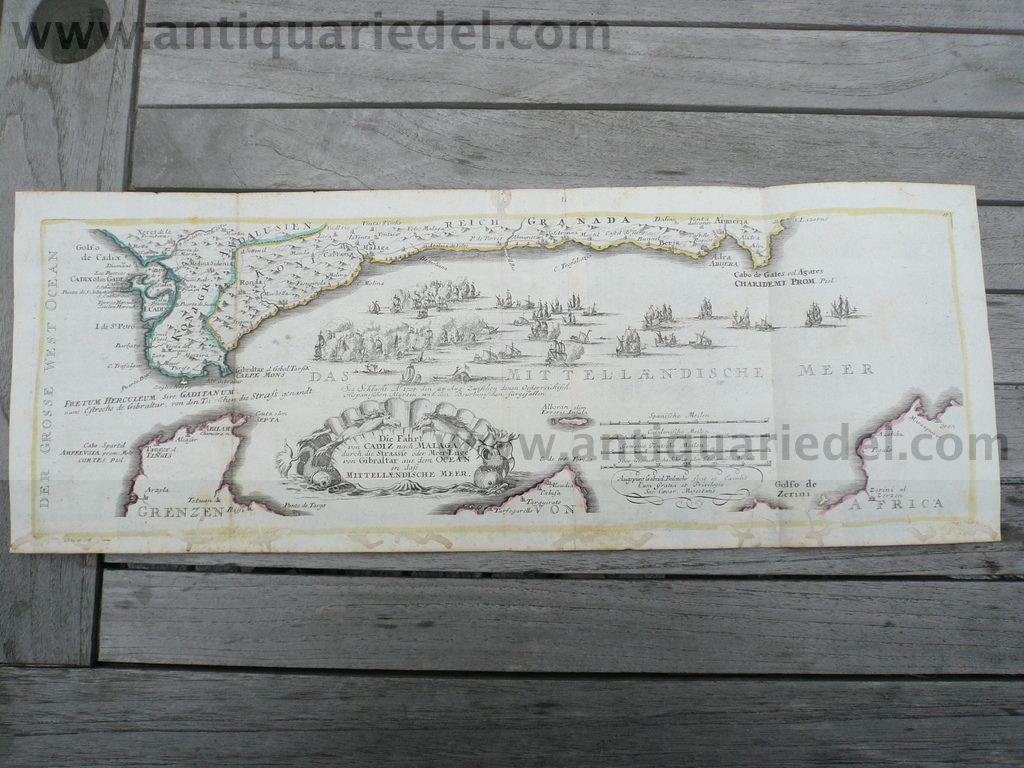 Cadiz, Gibraltar, map, naval battle, map, anno 1720, Bodenehr