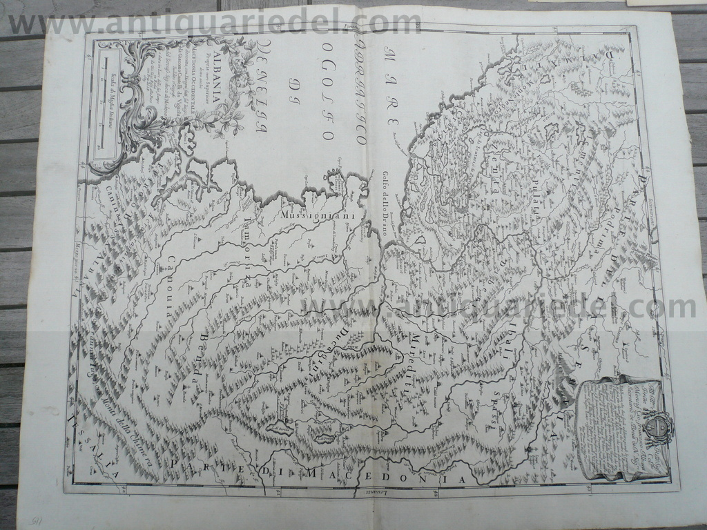 Albania/Macedonia, anno 1689, map,  Rossi