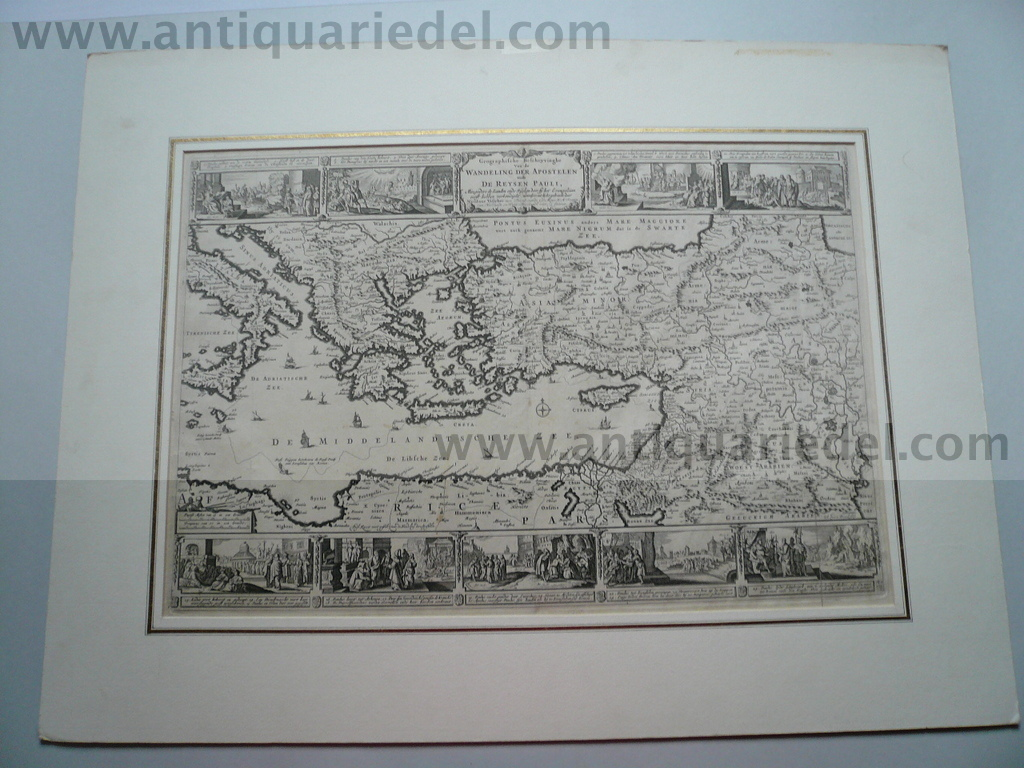 Eastern Mediterranean, voyages of Pauli, anno 1648, map, mounted