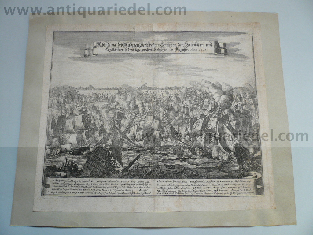 Scheveningen/Battle of August 1653, engraving Merian