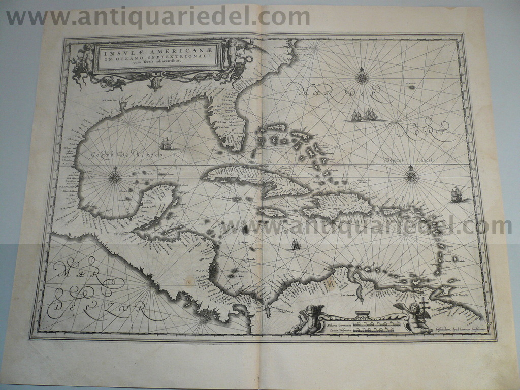 America-West Indies, anno 1638, map, Janssonius J.