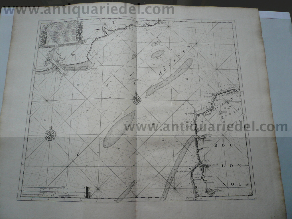 Channel/Dover/Calais, anno 1715 J.van Keulen map