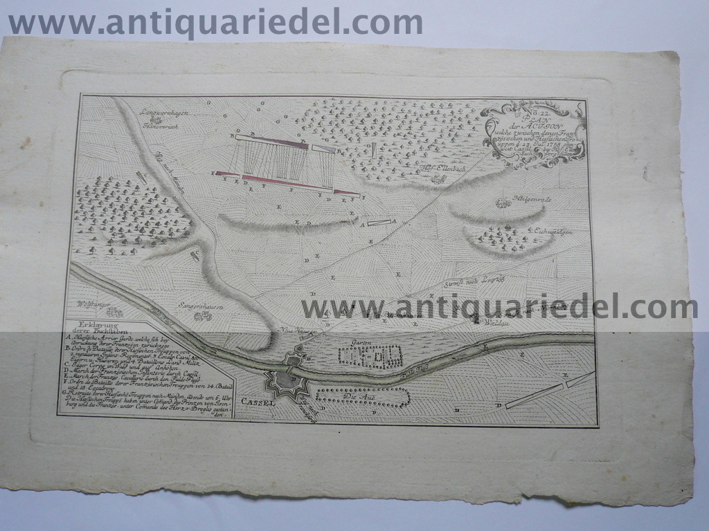 Kassel Battle of 1758, map, edited 1765