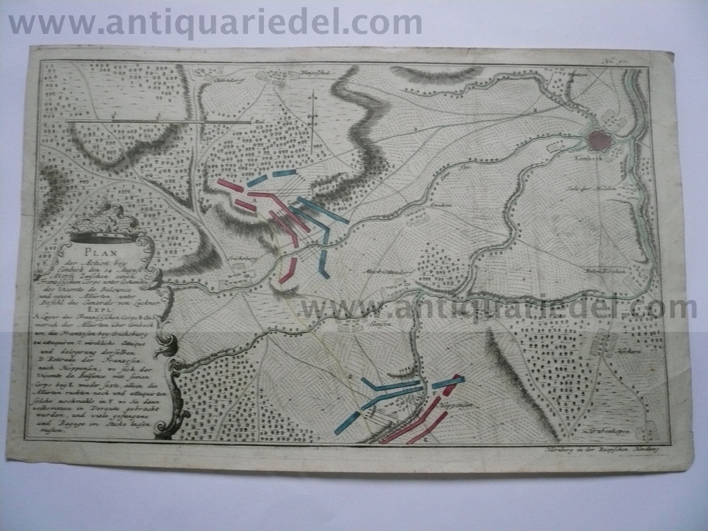 Einbeck, battle 14.08.1761 map, edited by Raspe 1770