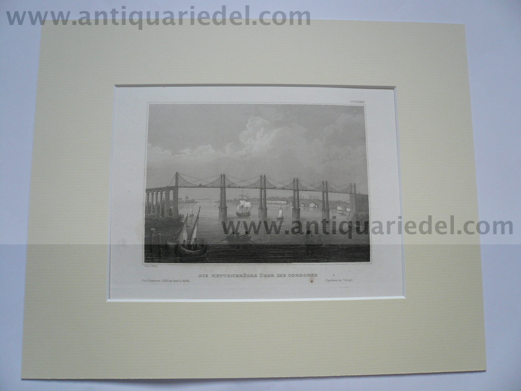 Bordeaux, anno 1850, steelengraving