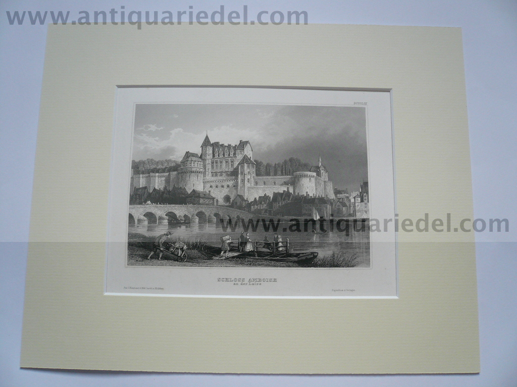 Amboise-castle, anno 1850, steelengraving