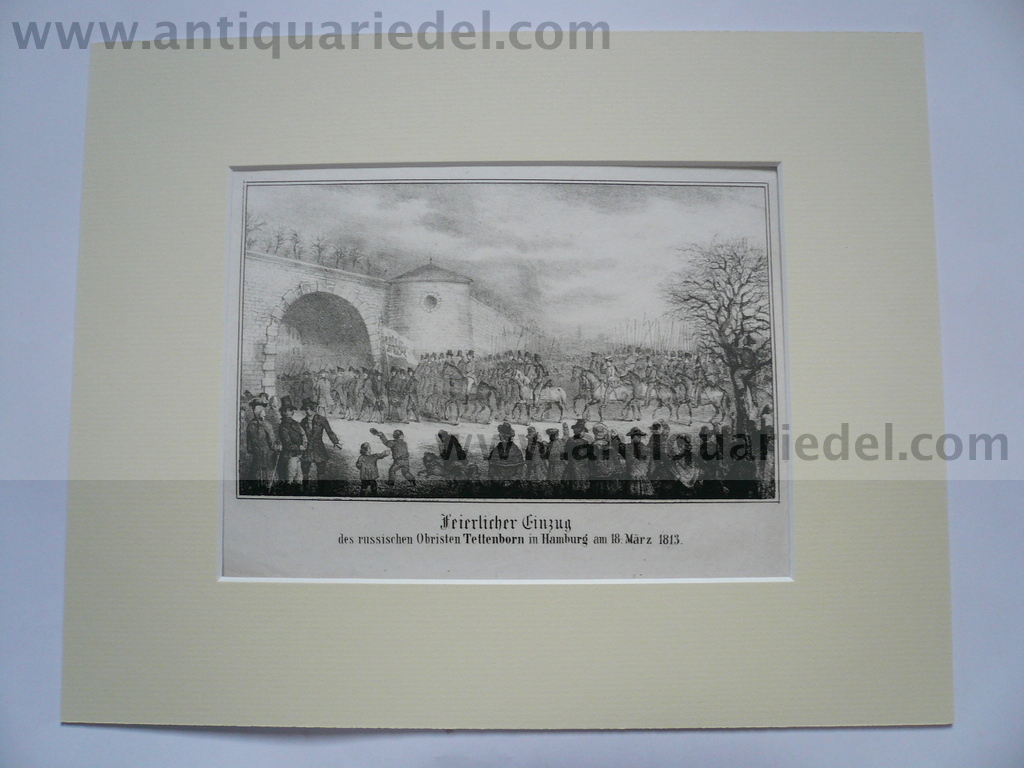 Hamburg 18.03.1813, steelengraving, anno 1850