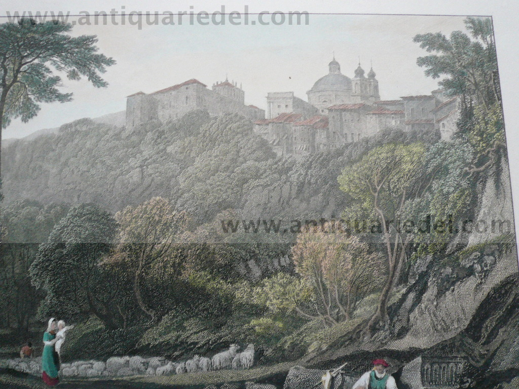 La Riccia, Etching, anno 1818, Hakewill old colours