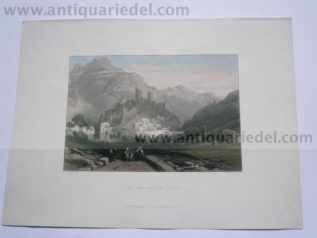Itri, town and castle, anno 1819, Hakewill etching
