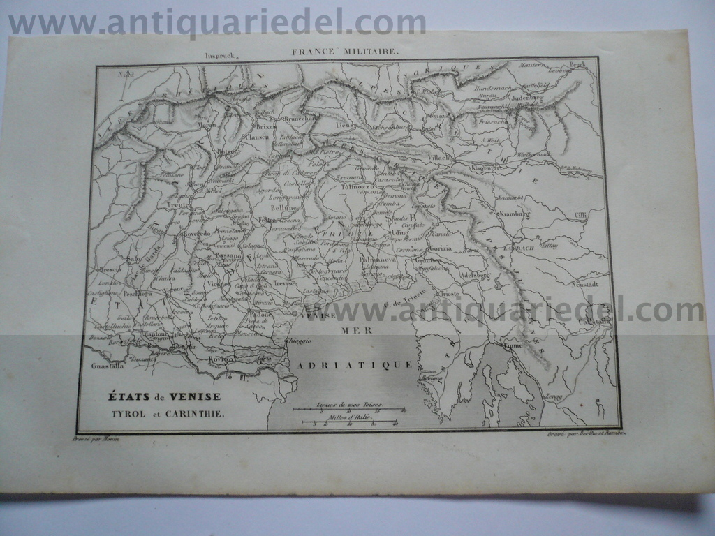 Venise/Tyrol/Carinthie anno 1838, Karte