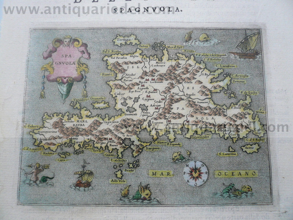 Hispaniola, anno 1605, map Porcacchi T.