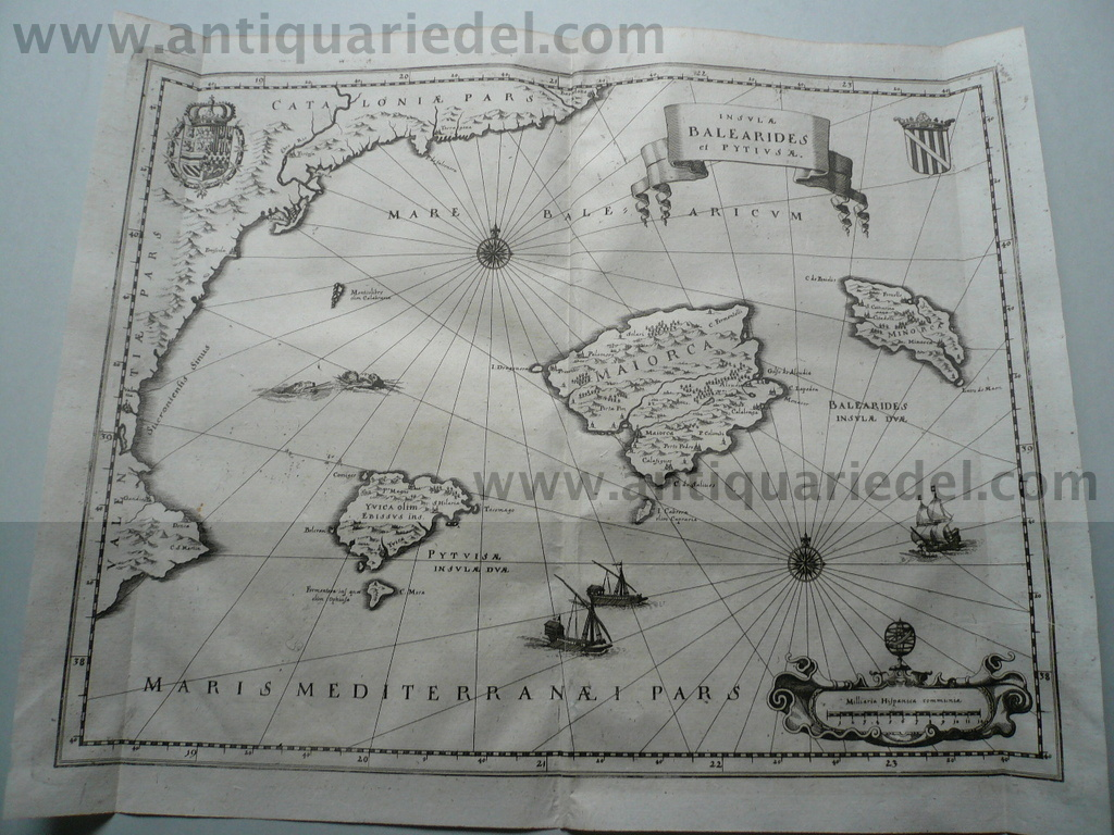 Balearic Islands, anno 1646, Merian Matthäus, copperengraving
