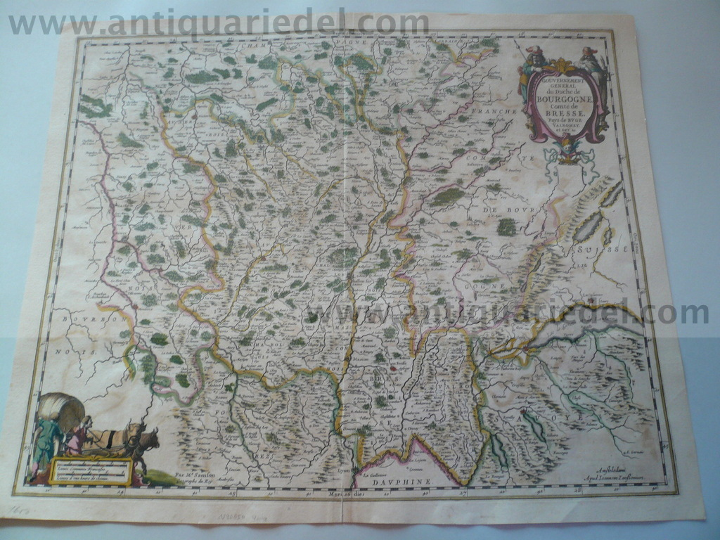 Bourgogne, Lac Geneve, anno 1660, map Janssonius