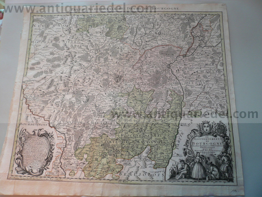 Gouvernement Bourgogne, map, anno 1740, Seutter M., old colours