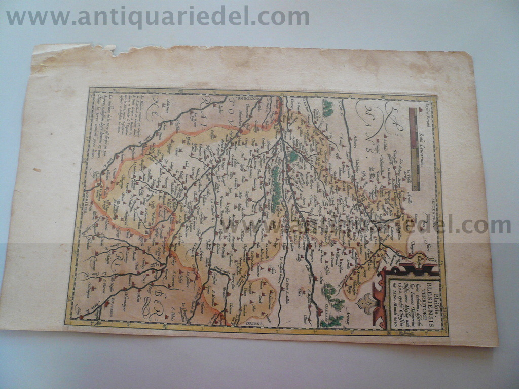 Blois, anno 1603, map Ortelius A., contemporary colours