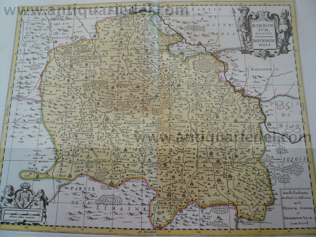 Borbonium ducatus, anno 1700, map, Schenk/'Valk, old colours