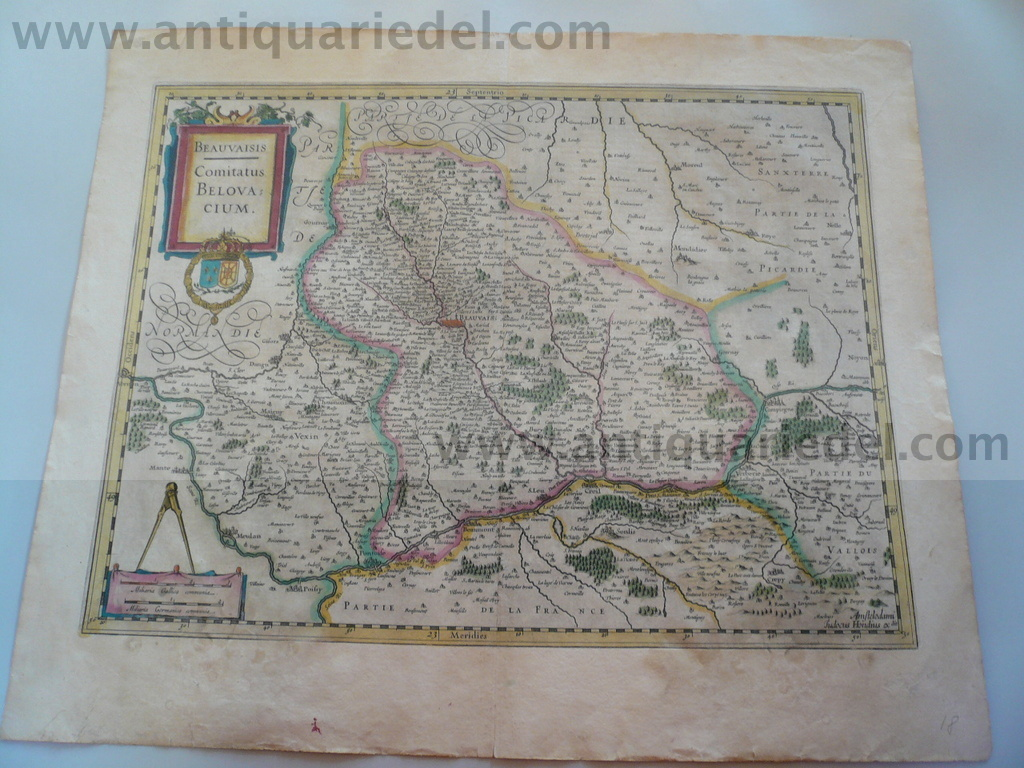 Beauvais, map, anno 1630, Hondius