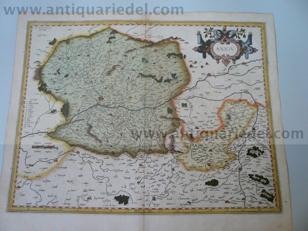 Aniou, anno 1610, Mercator map, old colours