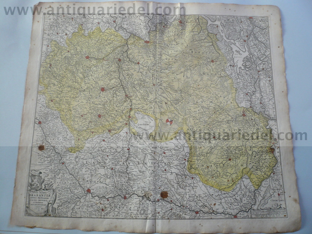 Brabantiae ducatus, anno 1690, F. de Wit map, old colours