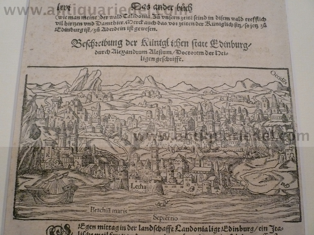 Edinburgh, anno 1570, woodcut, S. Münster