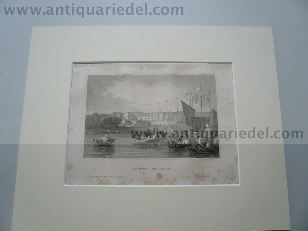 Canton in China, anno 1850, Steelengraving