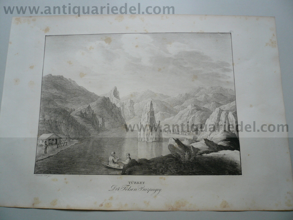Babakey, river Danube, anno 1825, lithograph, Kunike A.