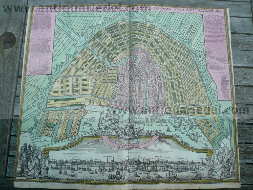 Amsterdam, anno 1727, Homann, Plan+Panorama, old colours, scarce