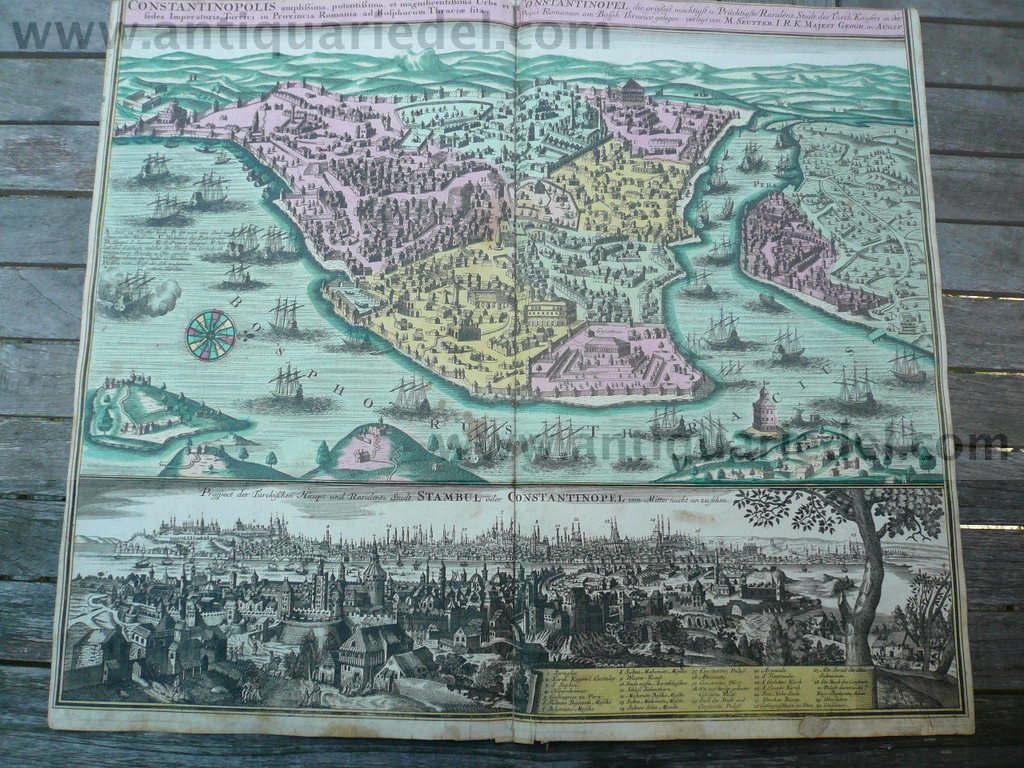 Constantinopolis, anno 1730, plan+panorama, Seutter M., old colo