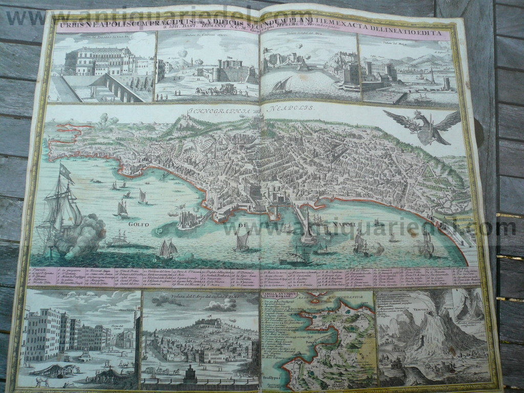 Napoli/Naples/Neapel, anno 1730, map, Homann Heirs
