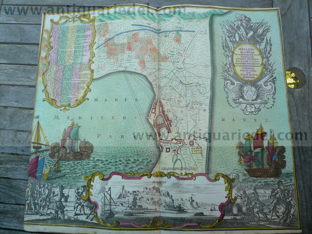 Milazzo-Sicily, anno 1730, map+panorama, Seutter M., old colours