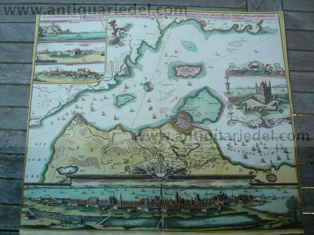 Copenhagen/Seeland, map+plan, Homann J.B., old colours