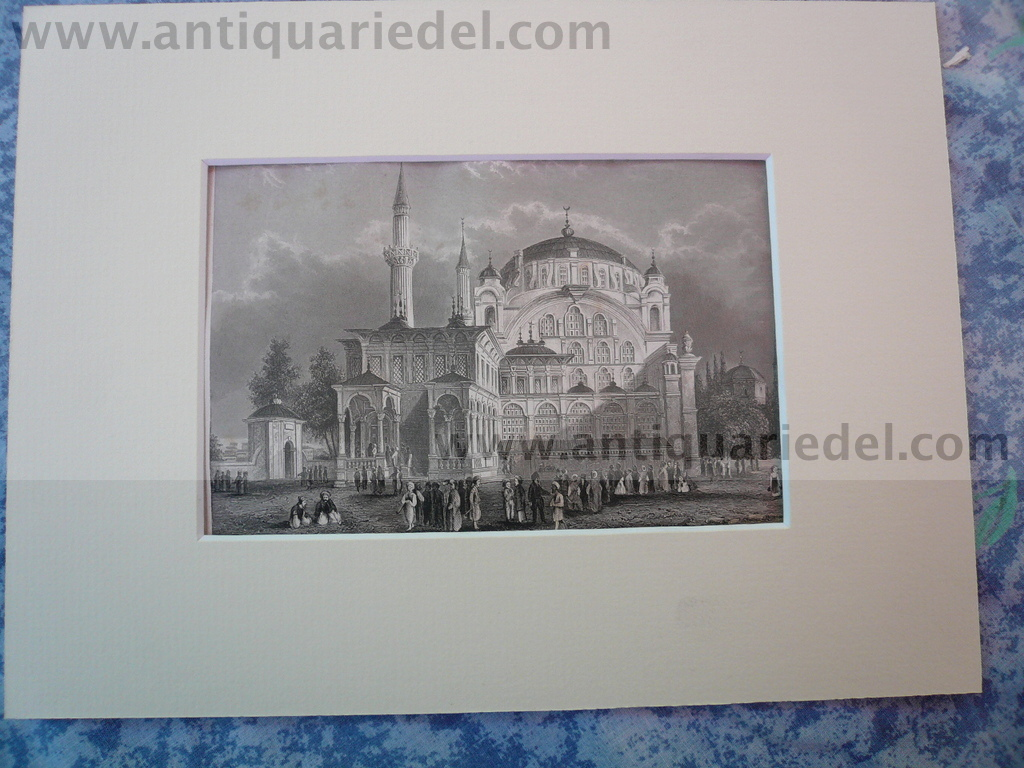 Istanbul-Sultan Selims church, anno 1850, steelengraving