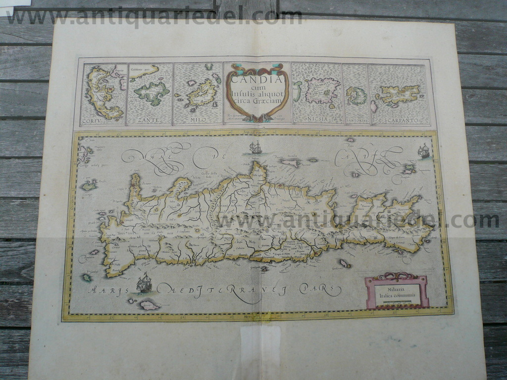 Crete/Candia cum Insulis, Mercator, anno 1610, old colours