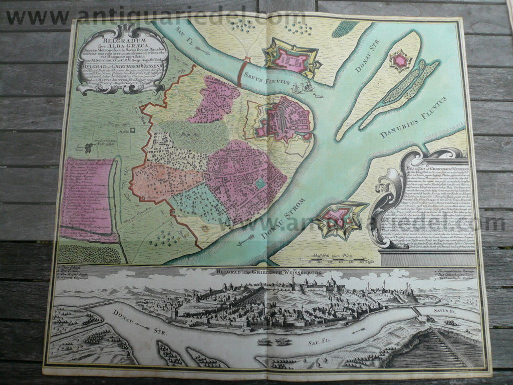 Belgrad, Plan+Panorama, Seutter M., 1740, old colours