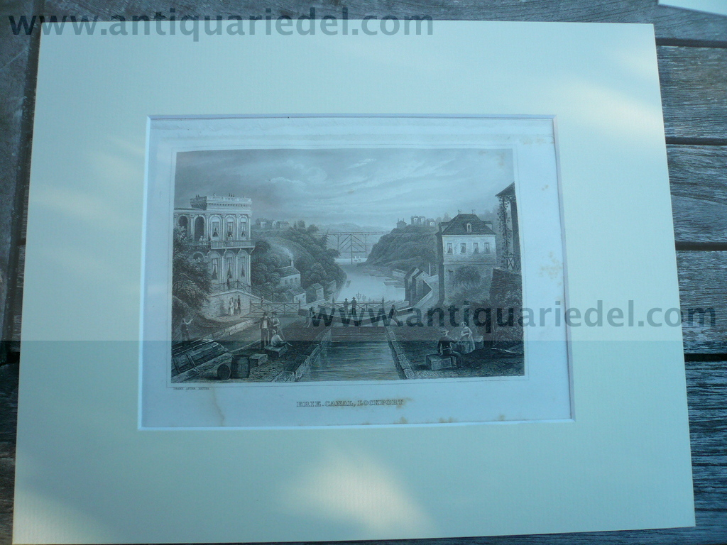 Lockport/NY/Erie Canal, anno 1850, steelengraving