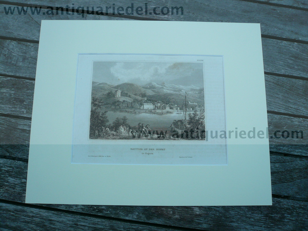 Battina an der Donau, anno 1850, steelengraving