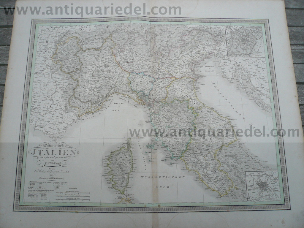 Northern Italy, anno 1834, map, big size
