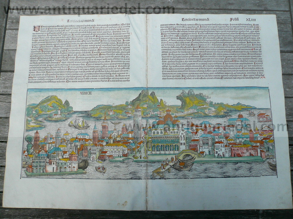 Venice, anno 1493, Nuremberg Chronickle, Schedel H., woodcut