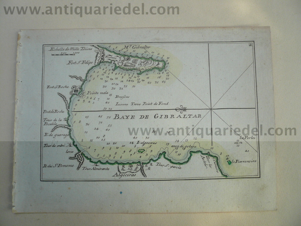 Gibraltar, anno 1790 Roux J., copperengraving