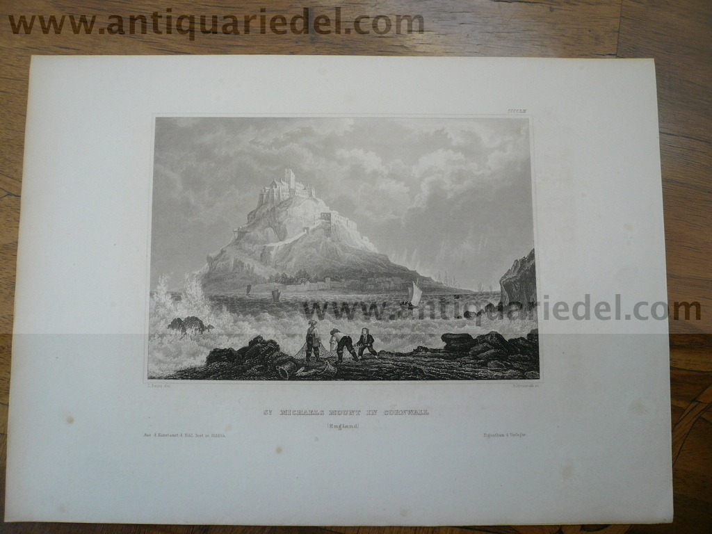 Cornwall-St.Michaels Mount, anno 1850, Steelengraving