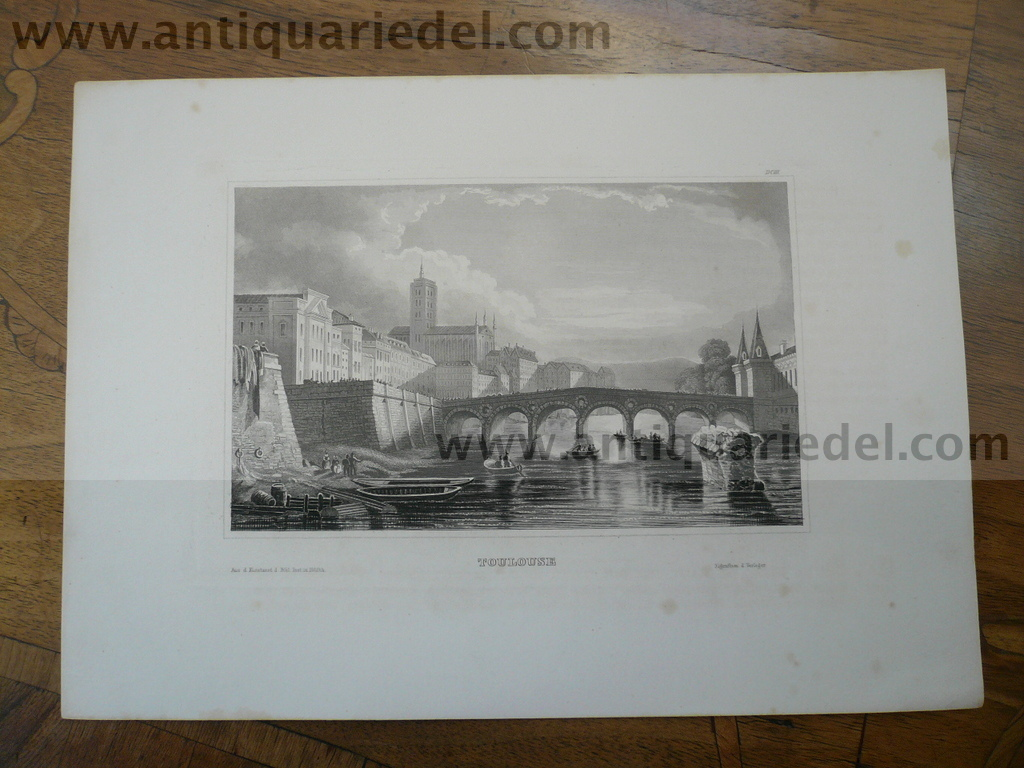 Toulouse, anno 1850, steelengraving