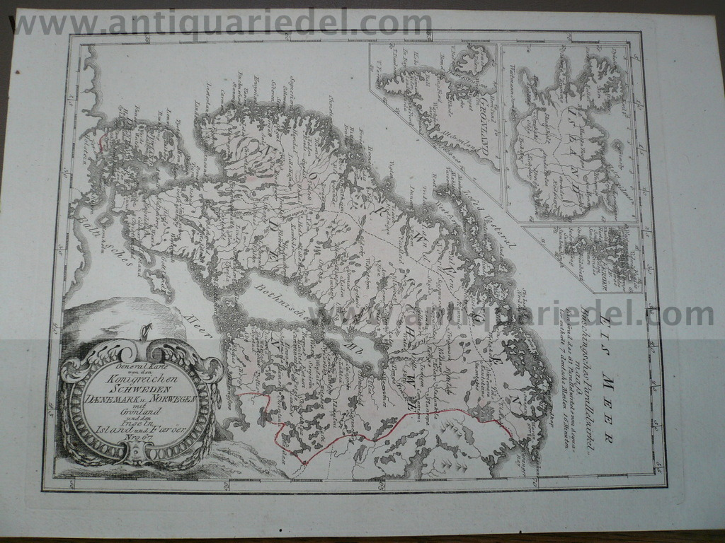 Scandinavia, anno 1790, map, Reilly