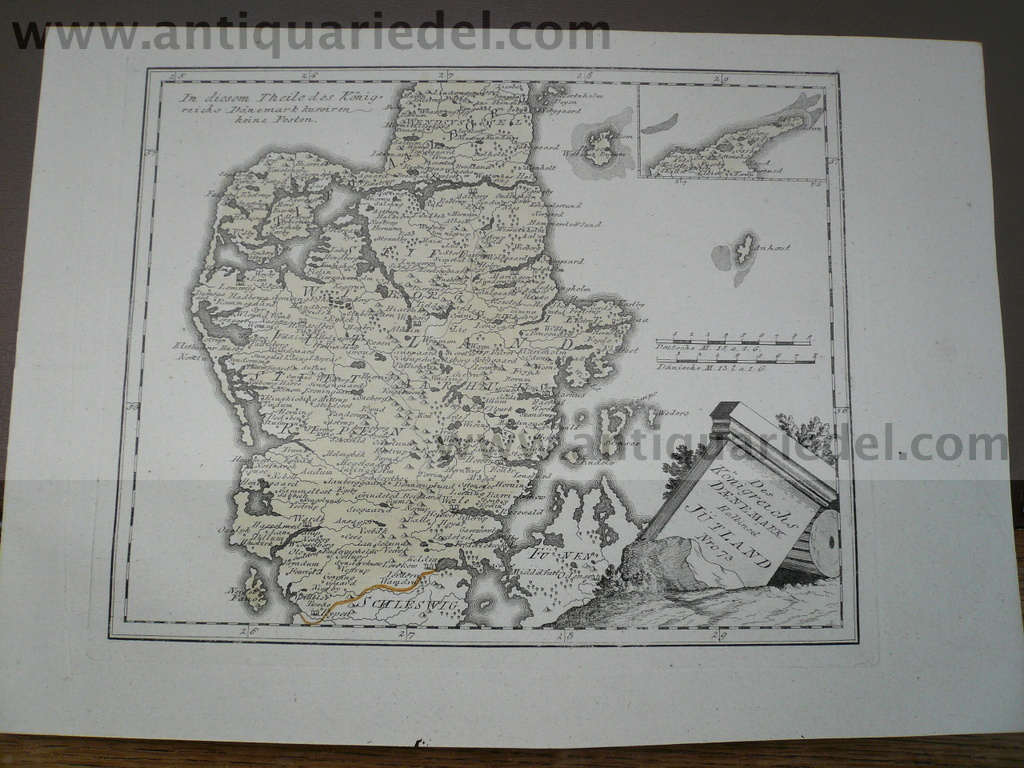 Denmark, anno 1790, map, Reilly