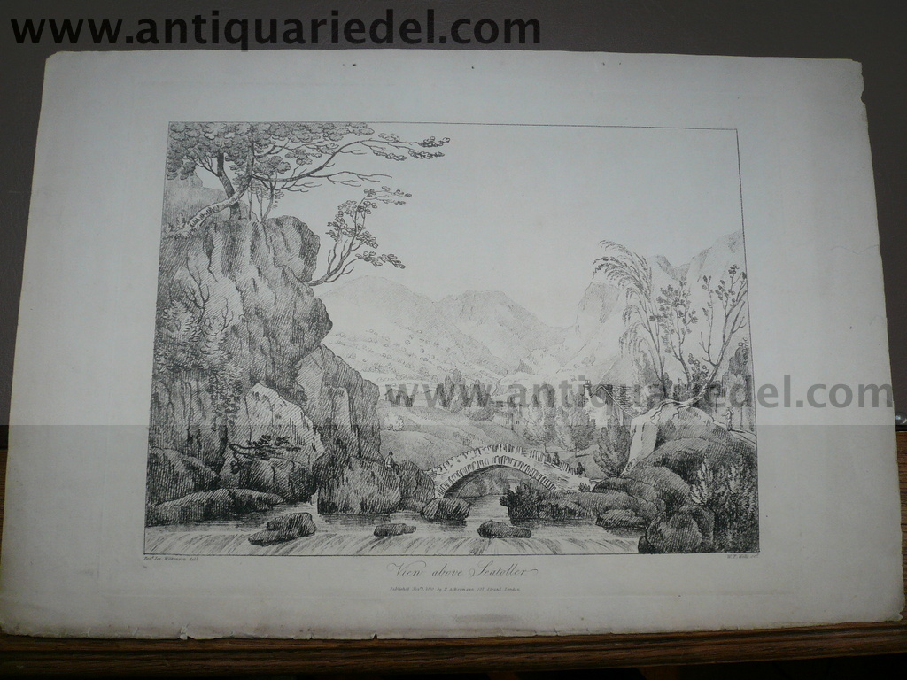 Cumberland/View above Seateller, etching, 1830, Wilkinson/Wells