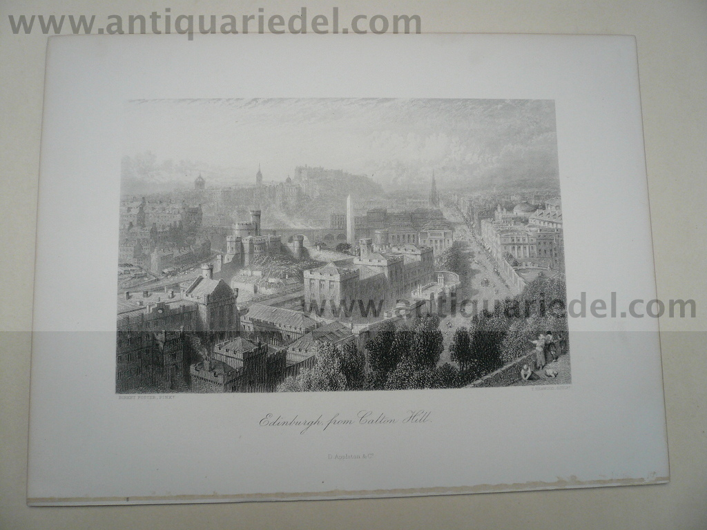 Edinburgh from Calton Hill, anno 1850, steelengraving