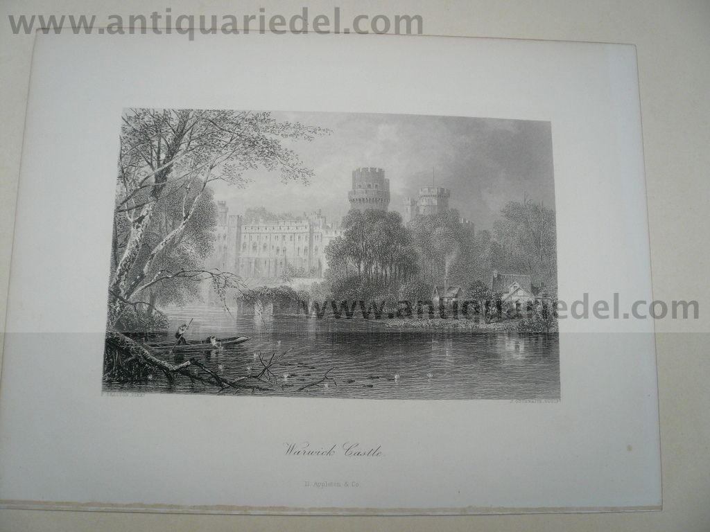 Warwick Castle, anno 1850, steelengraving