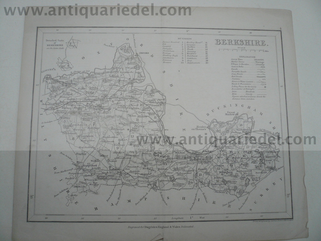 Berkshire, anno 1840, Dugdale, map