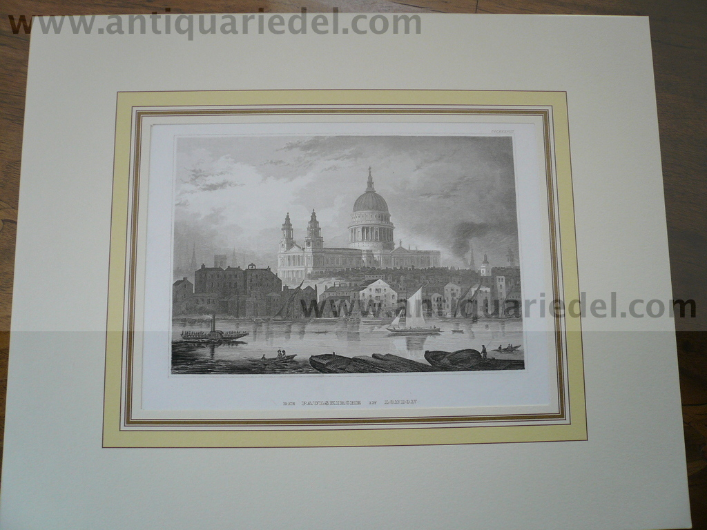 London, St. Paul, anno 1850, steelengraving